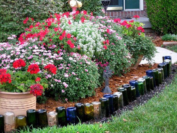 Lined Recycled Glass Bottles garden edging