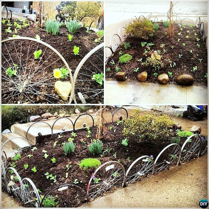 Recycled bicycle wheels garden edging