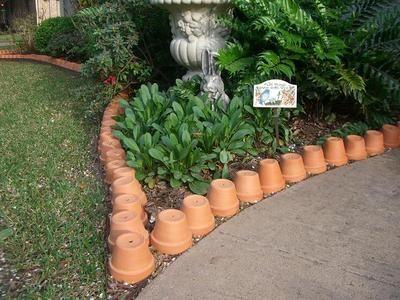 Terracotta Flower Pot Garden Edging