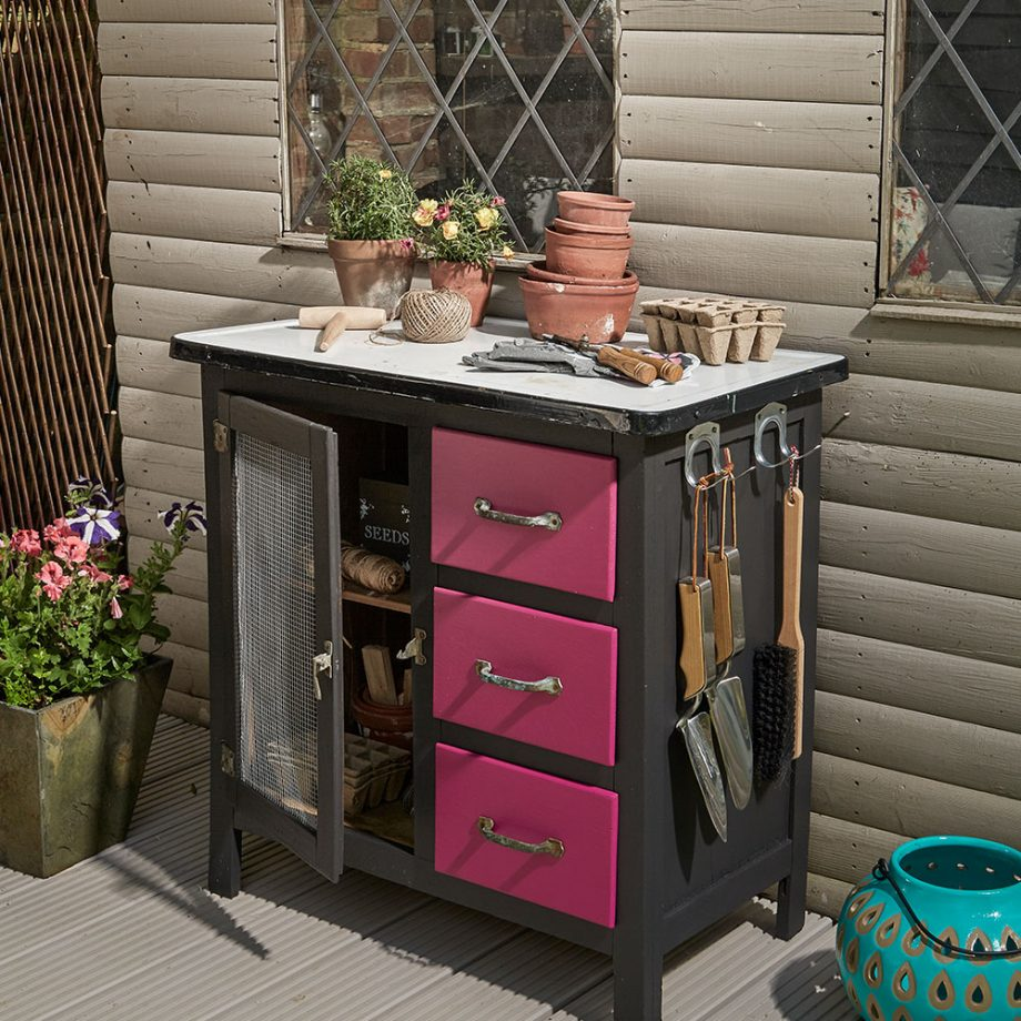 Upcycle an old cabinet into a potting table